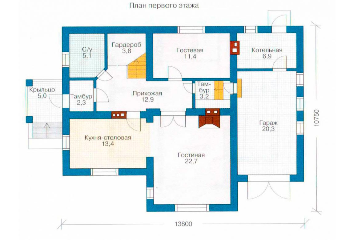 План N1 проекта дома из блоков АСД-1153