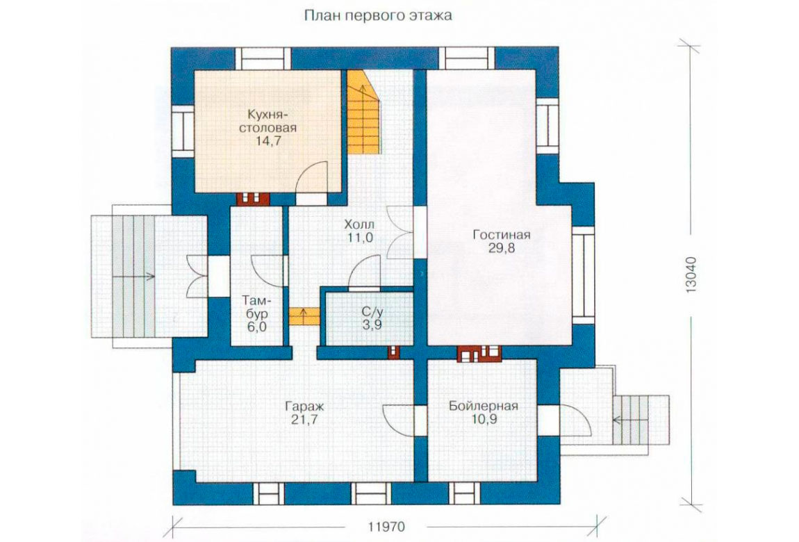 План N1 проекта дома из блоков АСД-1154