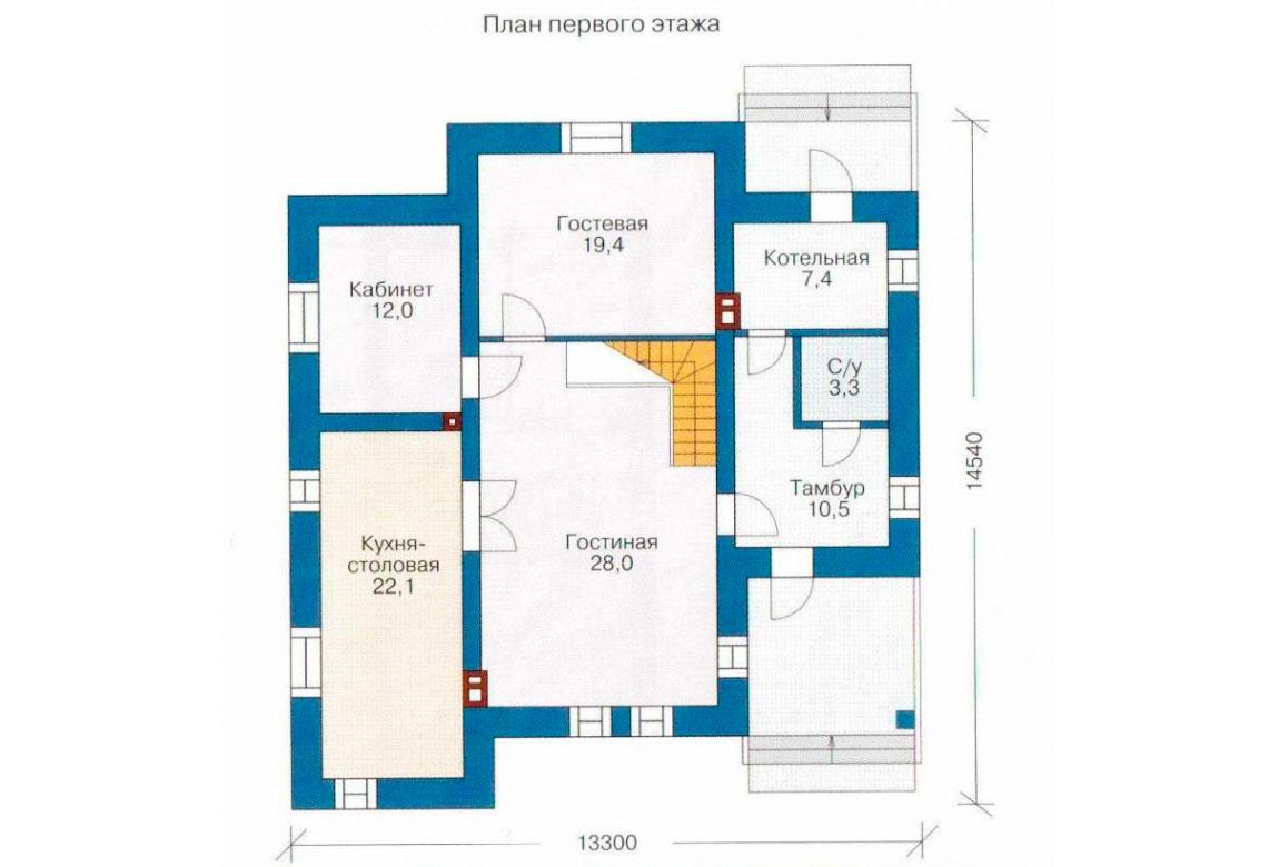 План N1 проекта дома из блоков АСД-1155