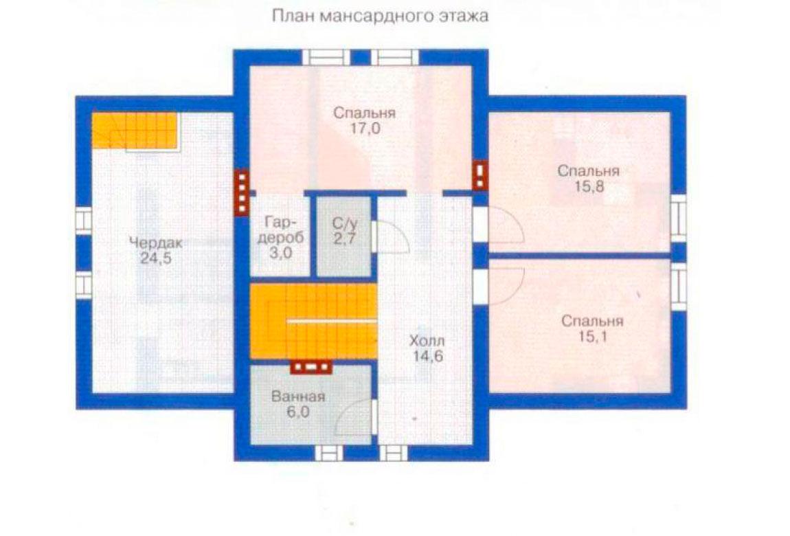 План N1 проекта дома из блоков АСД-1156