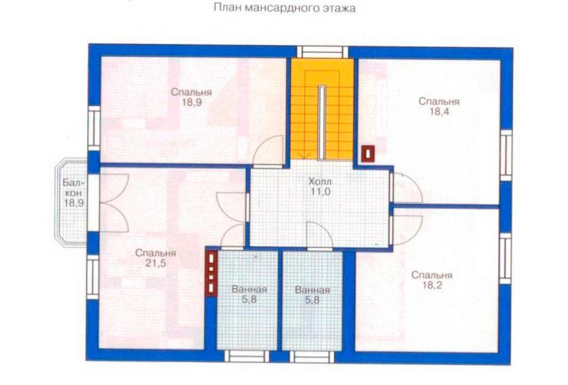 План N1 проекта дома из блоков АСД-1158