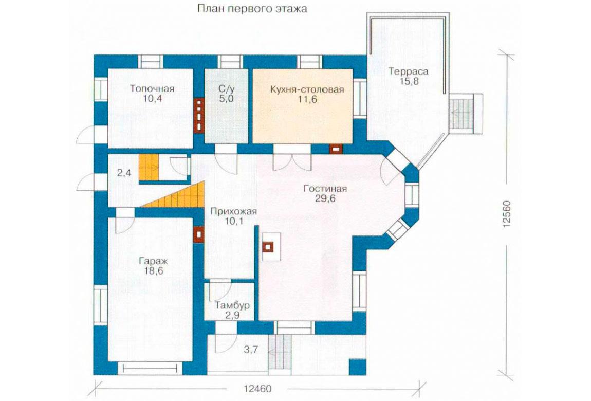 План N1 проекта кирпичного дома АСД-1016