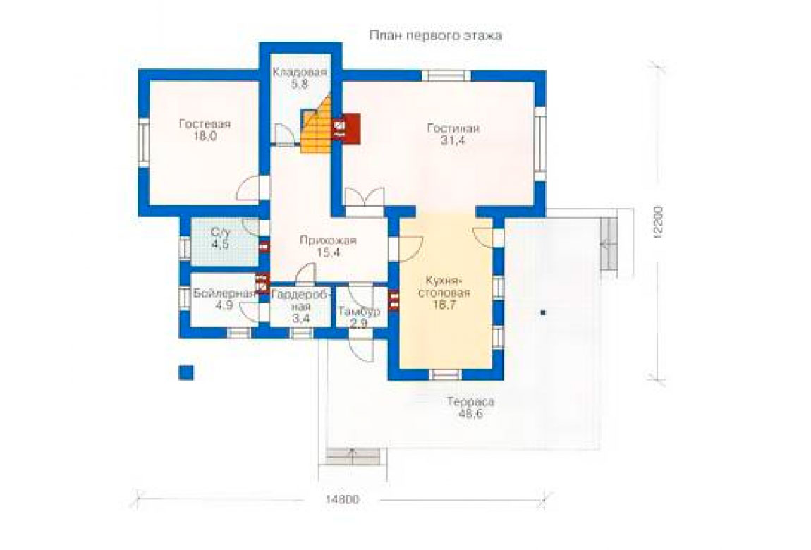 План N1 проекта дома из блоков АСД-1160