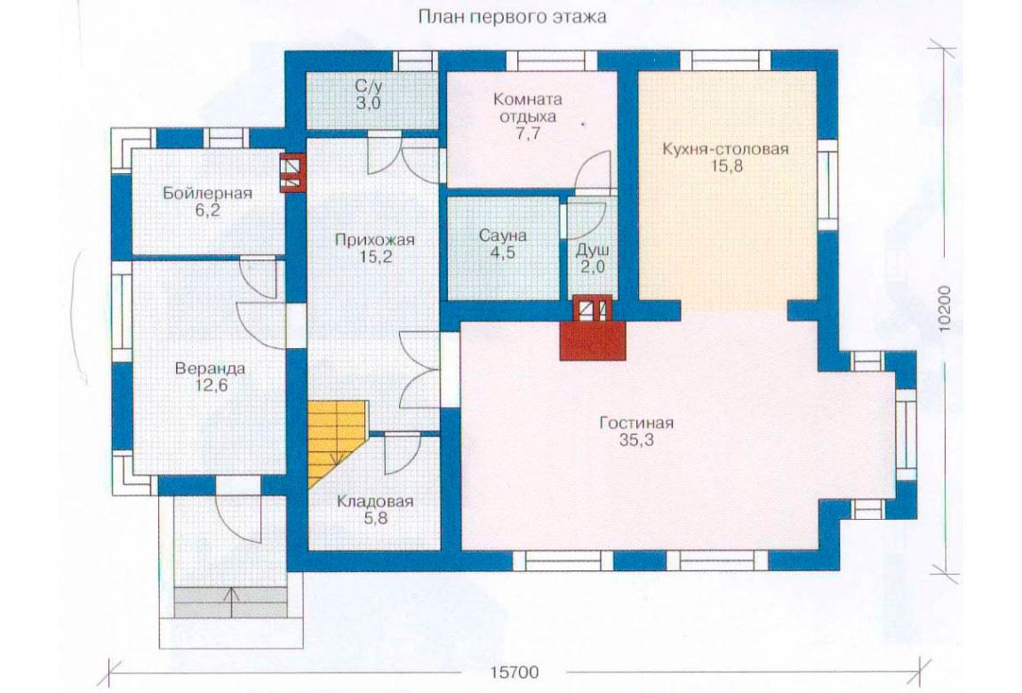 План N1 проекта дома из блоков АСД-1161