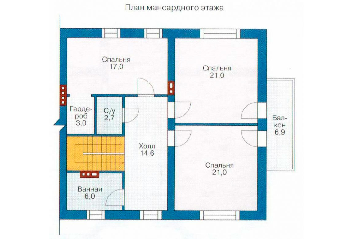 План N1 проекта дома из блоков АСД-1163