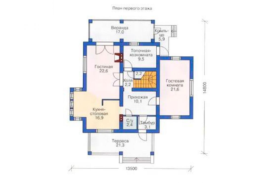 План N1 проекта дома из блоков АСД-1165