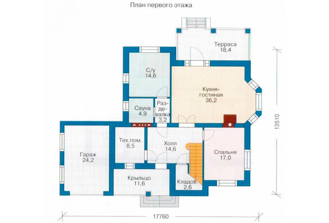 План N2 проекта дома из блоков АСД-1166