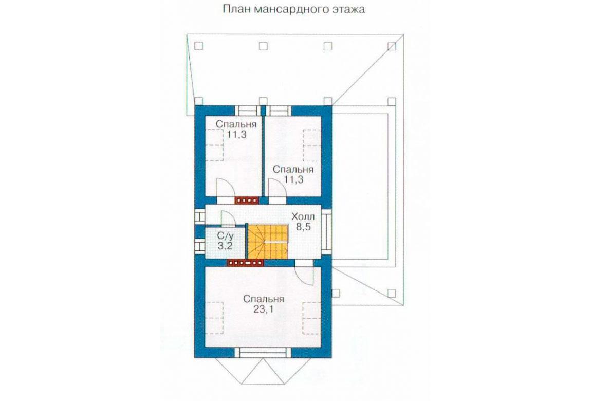План N1 проекта дома из блоков АСД-1167