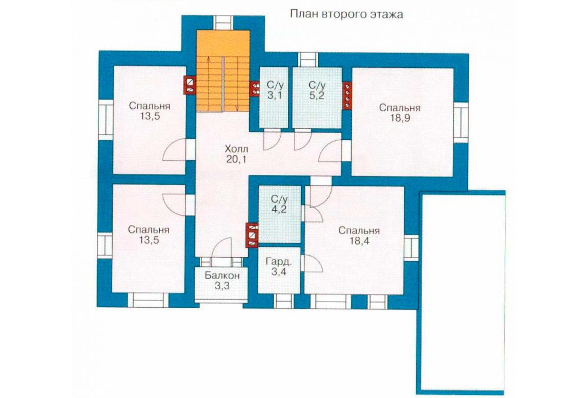 План N1 проекта дома из блоков АСД-1168