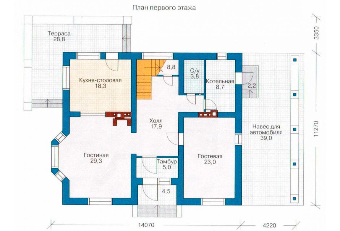 План N1 проекта дома из блоков АСД-1169