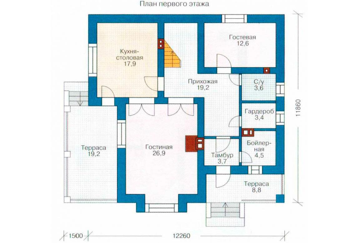 План N2 проекта кирпичного дома АСД-1017