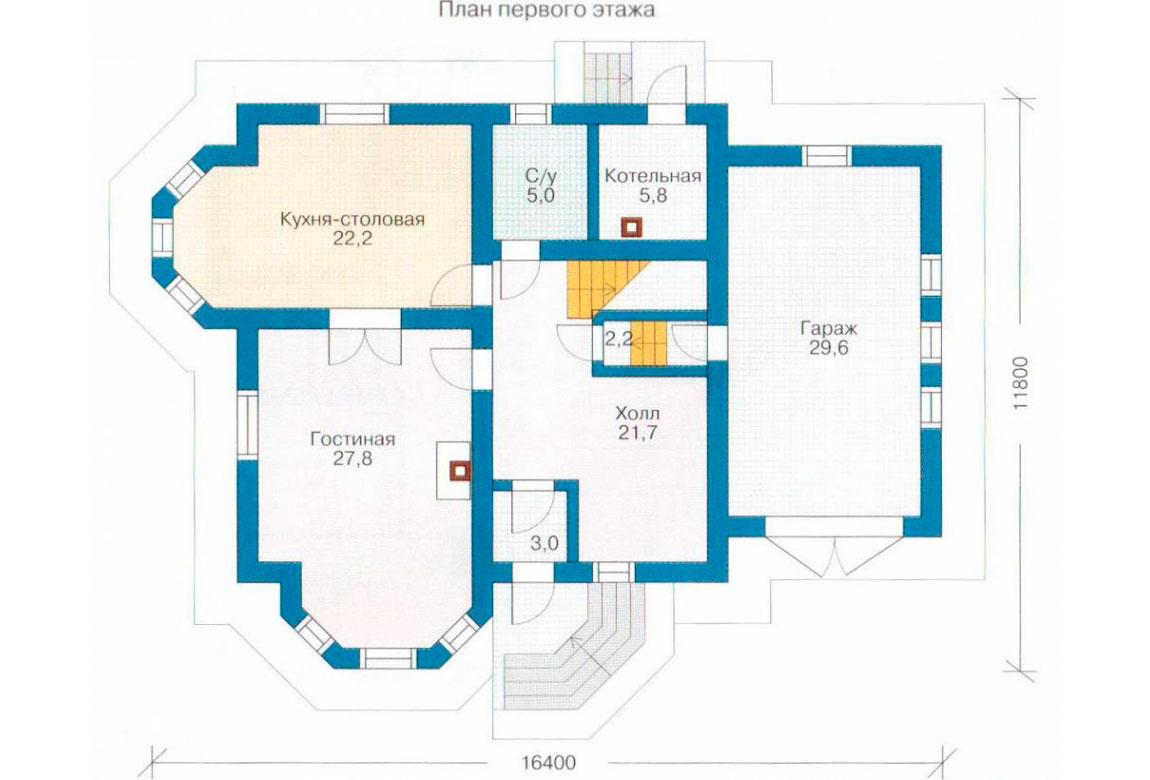 План N1 проекта дома из блоков АСД-1172