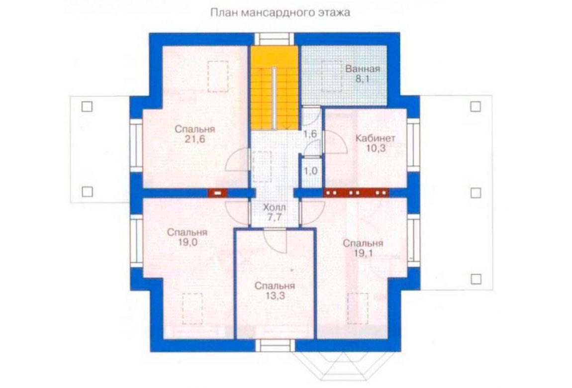 План N1 проекта дома из блоков АСД-1174