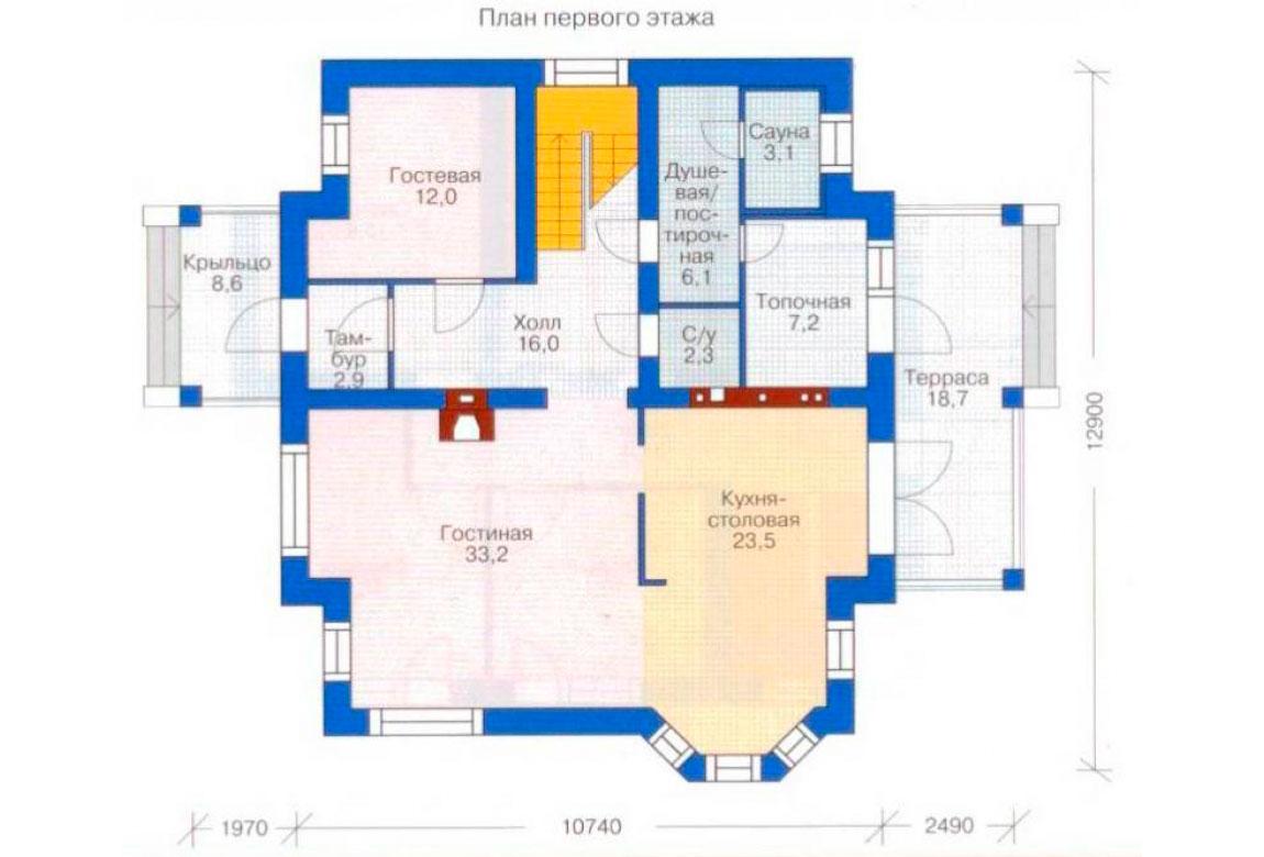 План N2 проекта дома из блоков АСД-1174