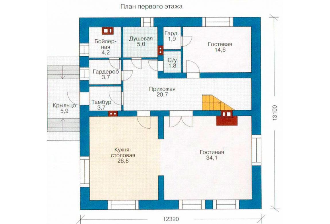 План N1 проекта дома из блоков АСД-1175