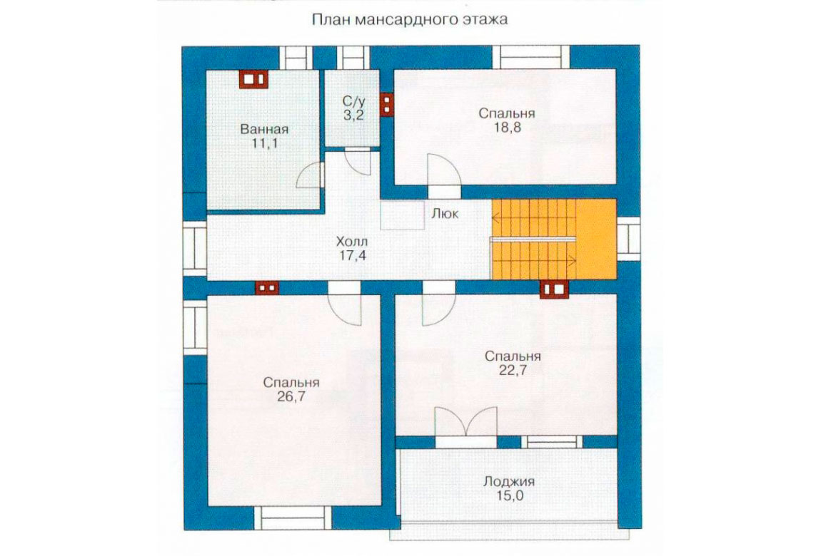 План N2 проекта дома из блоков АСД-1175