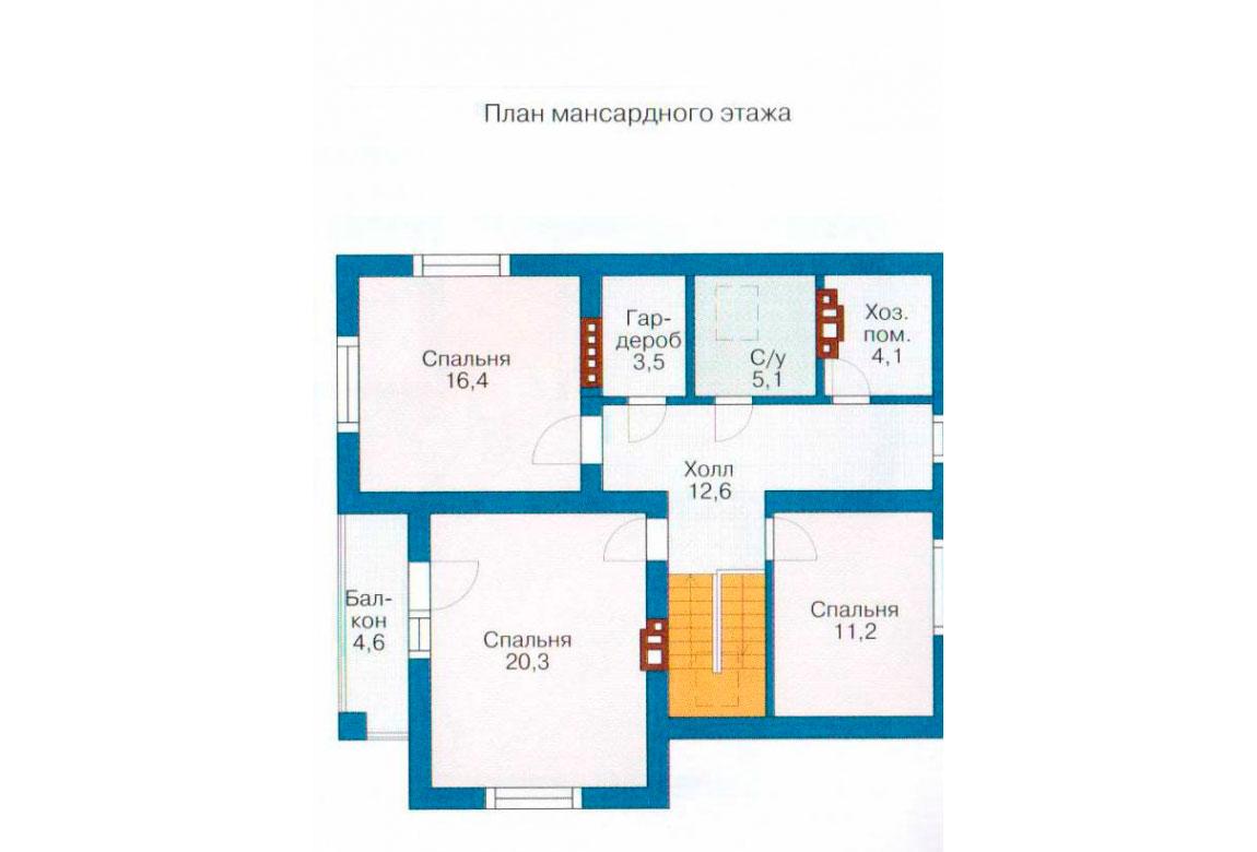 План N1 проекта дома из блоков АСД-1176