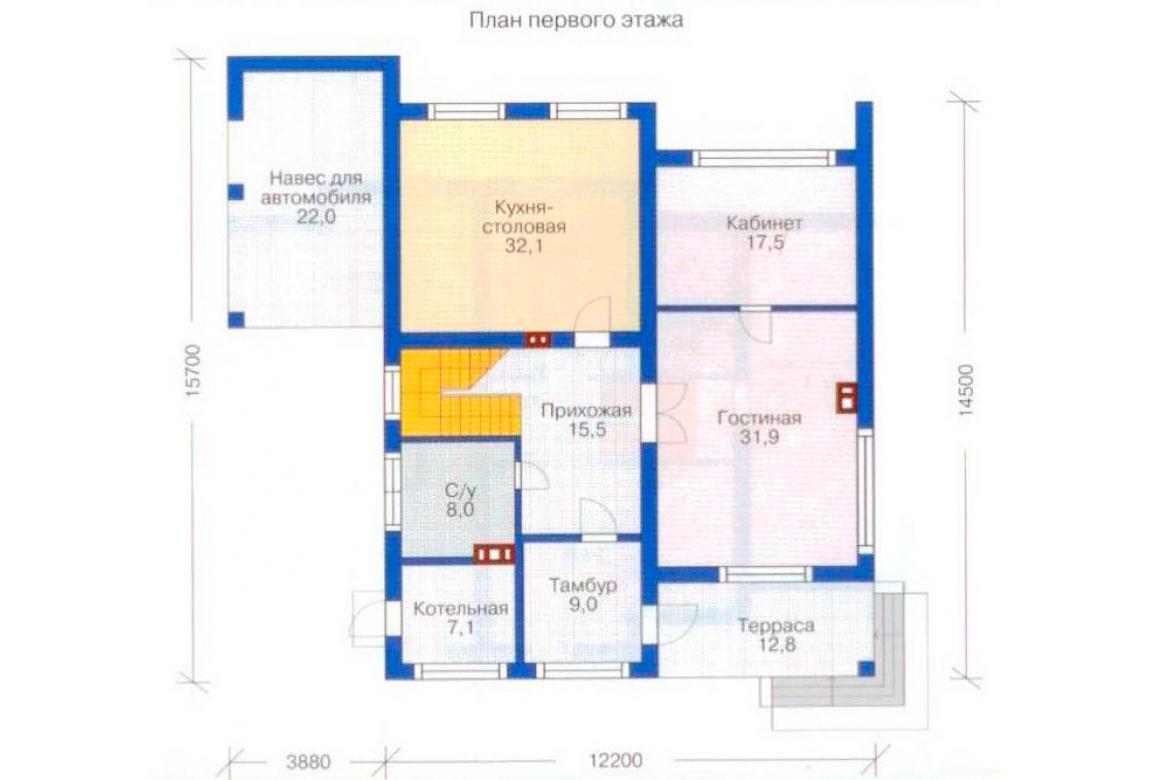 План N1 проекта дома из блоков АСД-1177