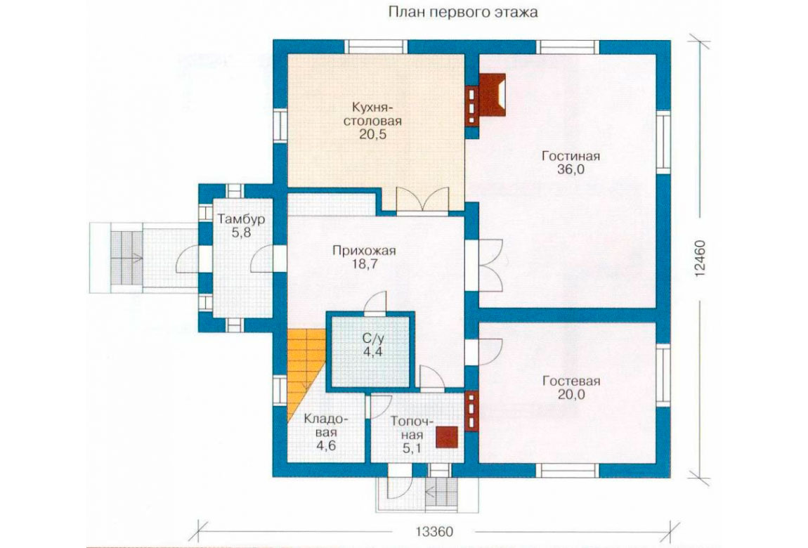 План N1 проекта дома из блоков АСД-1178