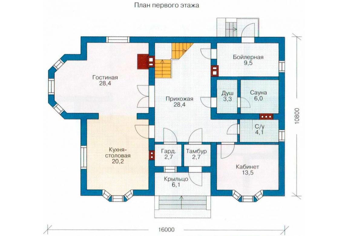 План N1 проекта дома из блоков АСД-1180