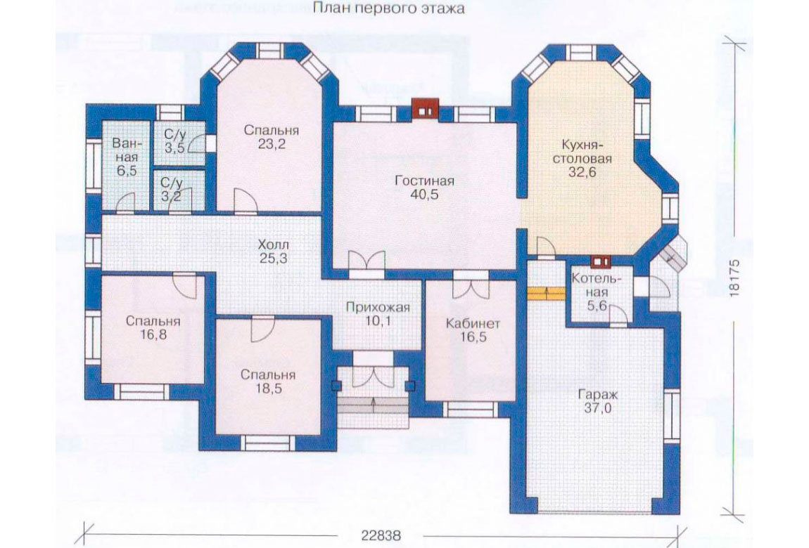 План N1 проекта дома из блоков АСД-1182