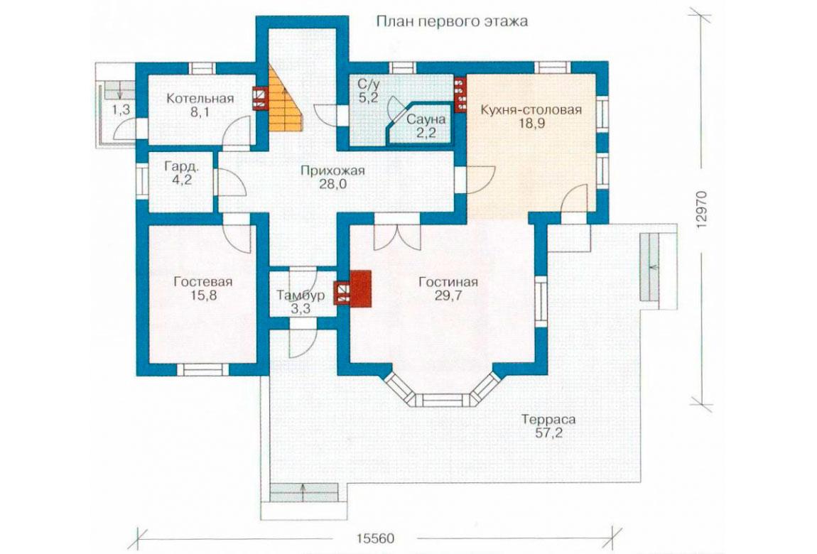 План N1 проекта дома из блоков АСД-1183