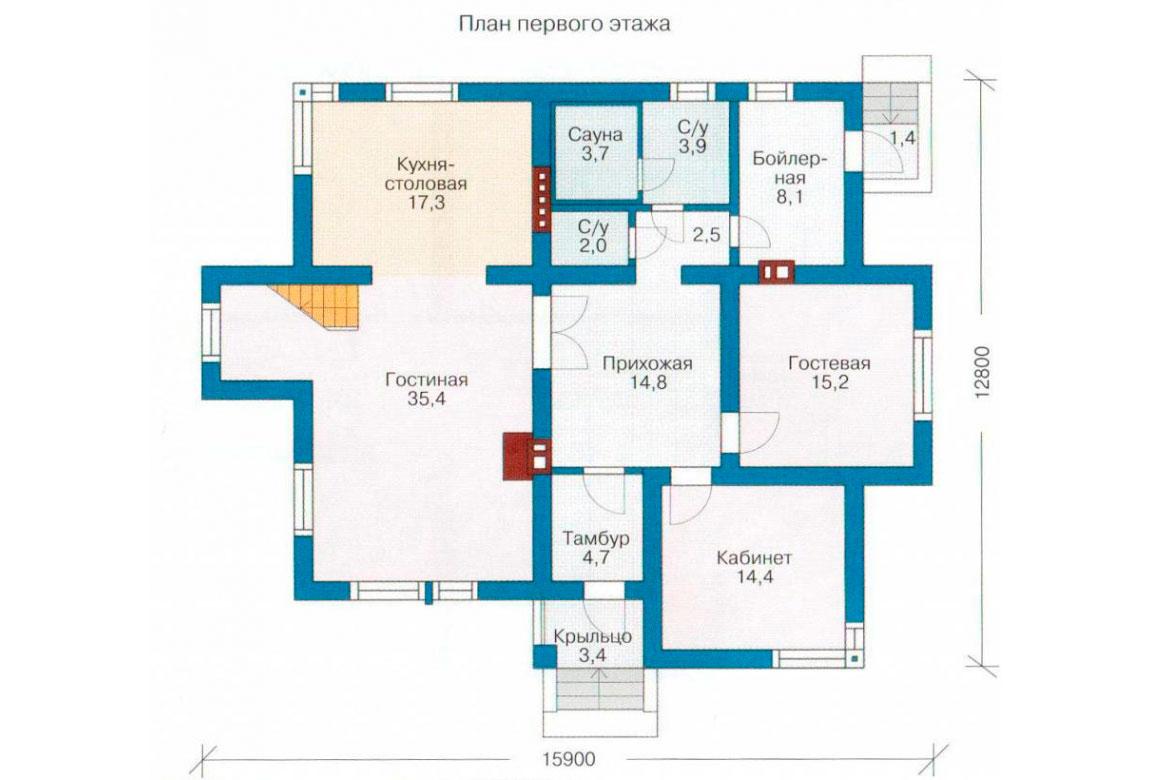 План N1 проекта дома из блоков АСД-1184