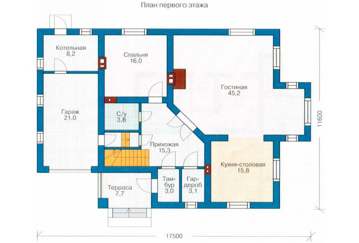 План N1 проекта дома из блоков АСД-1187