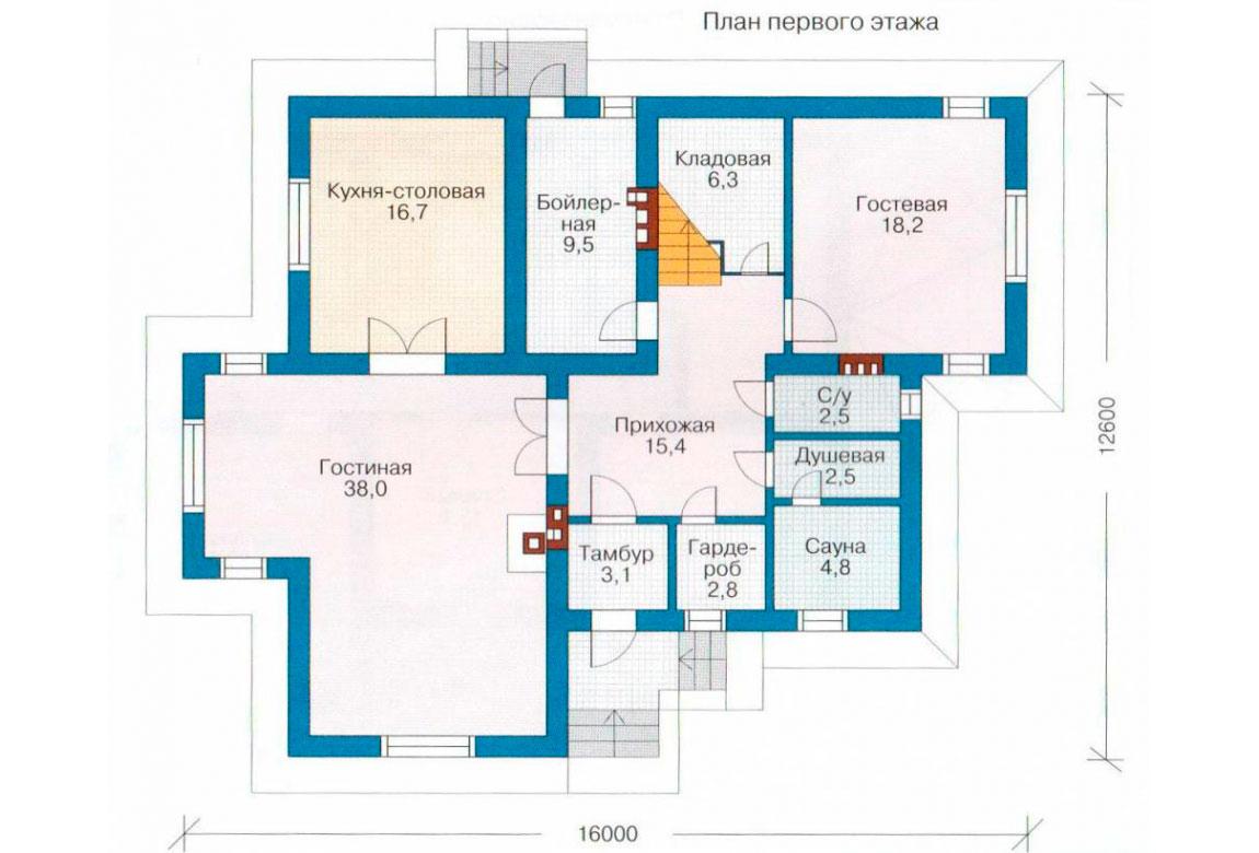 План N2 проекта дома из блоков АСД-1188