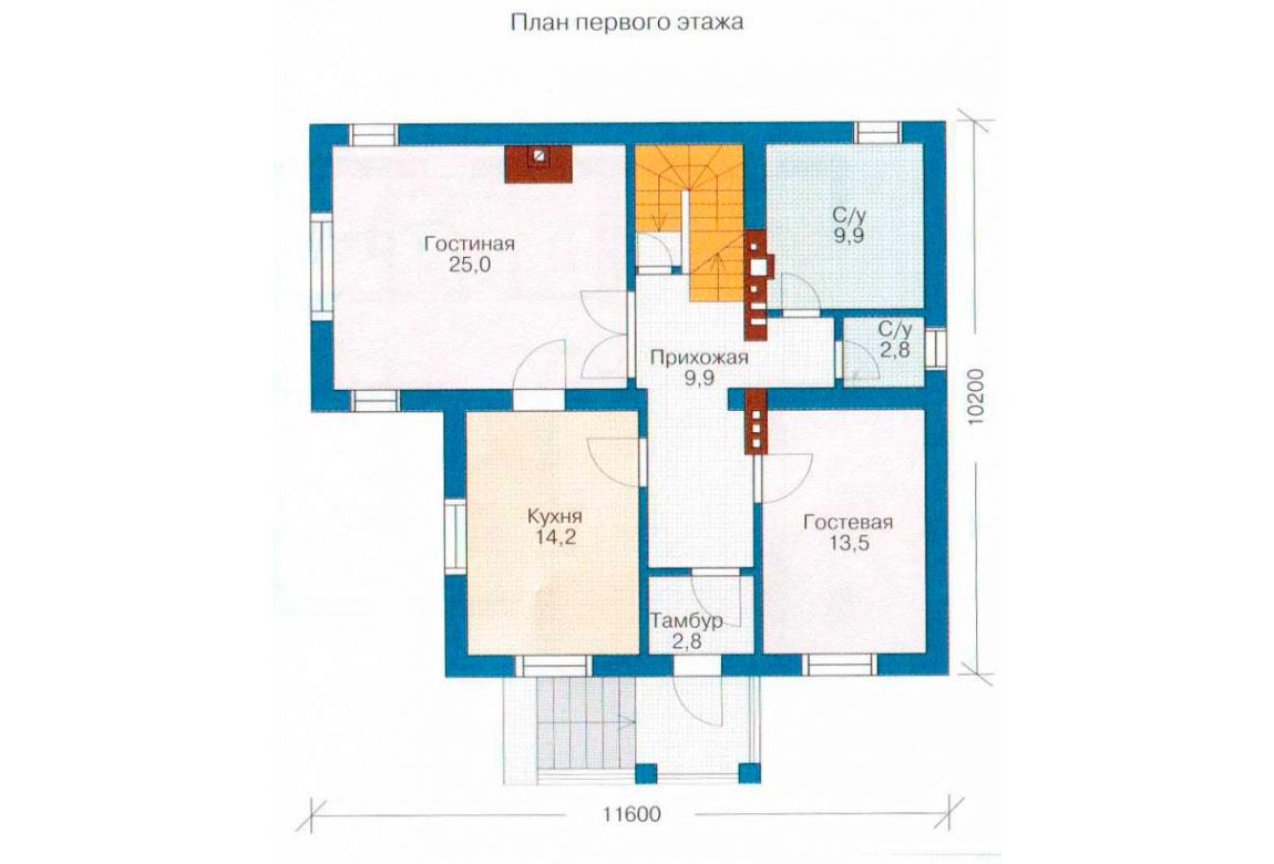 План N2 проекта дома из блоков АСД-1189