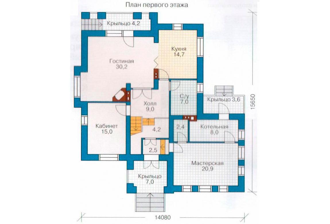 План N3 проекта дома из блоков АСД-1190