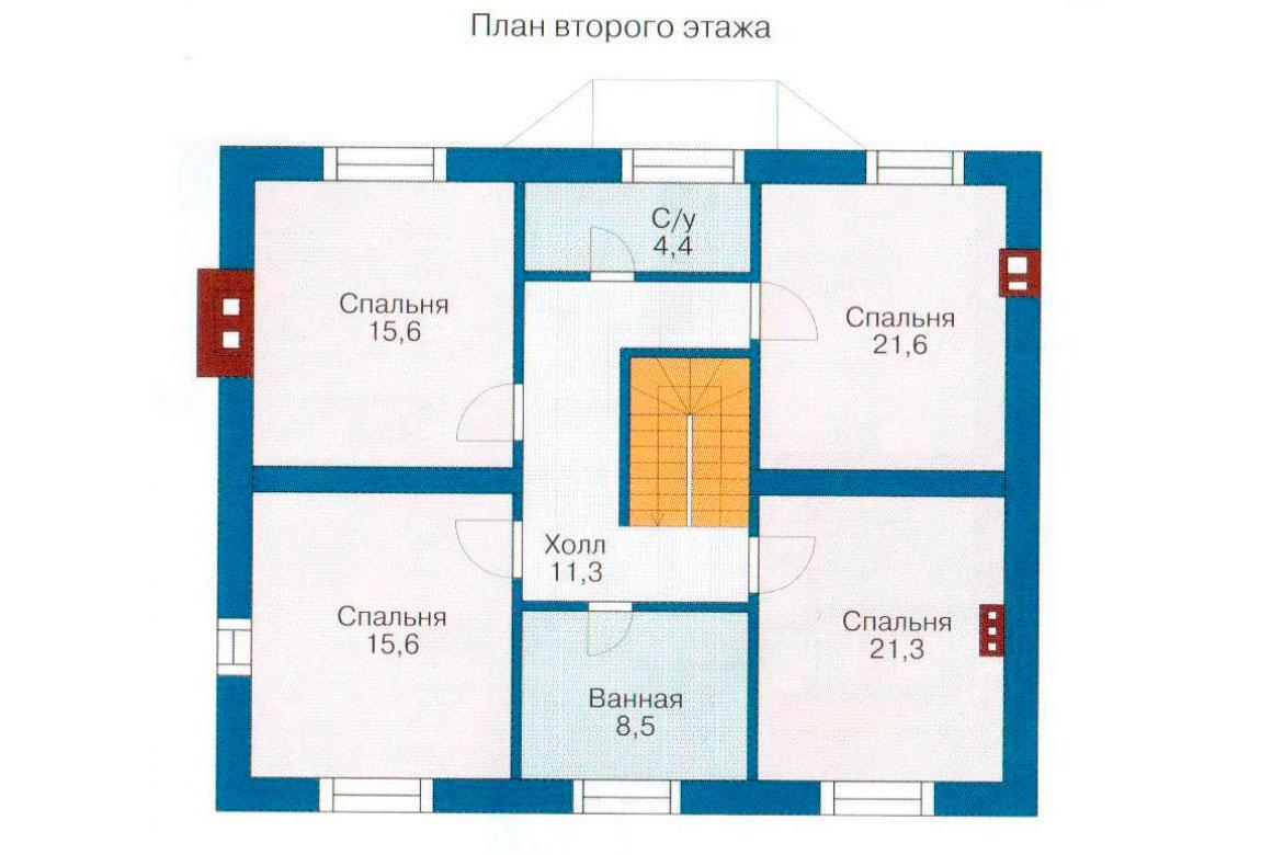 План N1 проекта дома из блоков АСД-1193