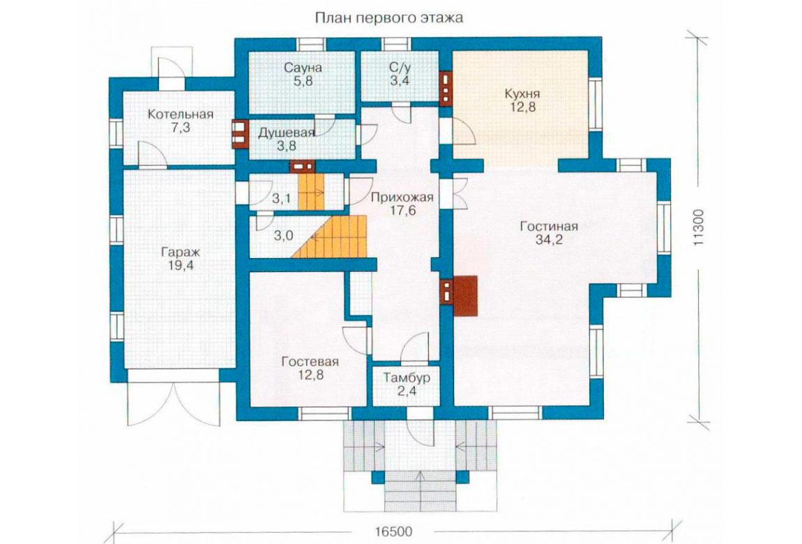 План N1 проекта дома из блоков АСД-1194