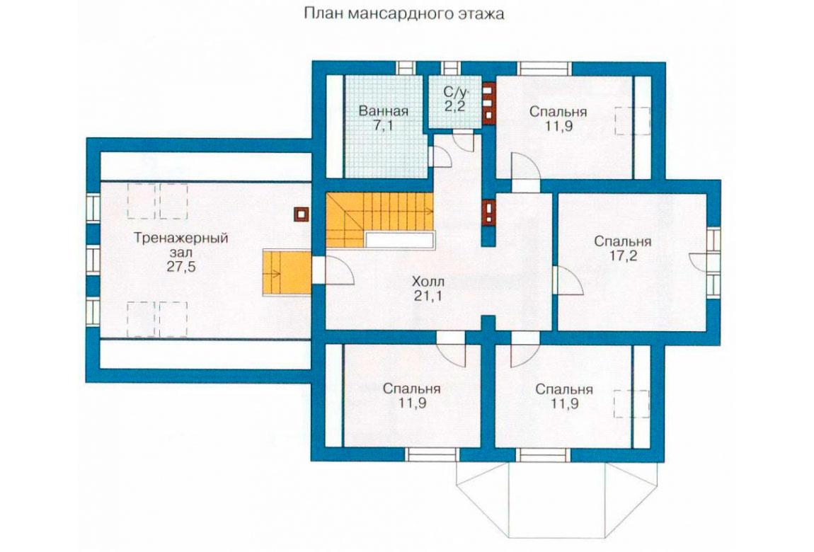 План N1 проекта дома из блоков АСД-1195