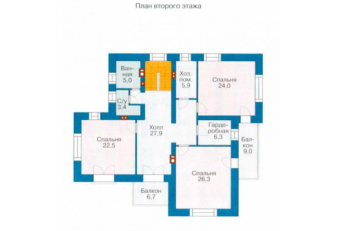 План N1 проекта дома из блоков АСД-1197