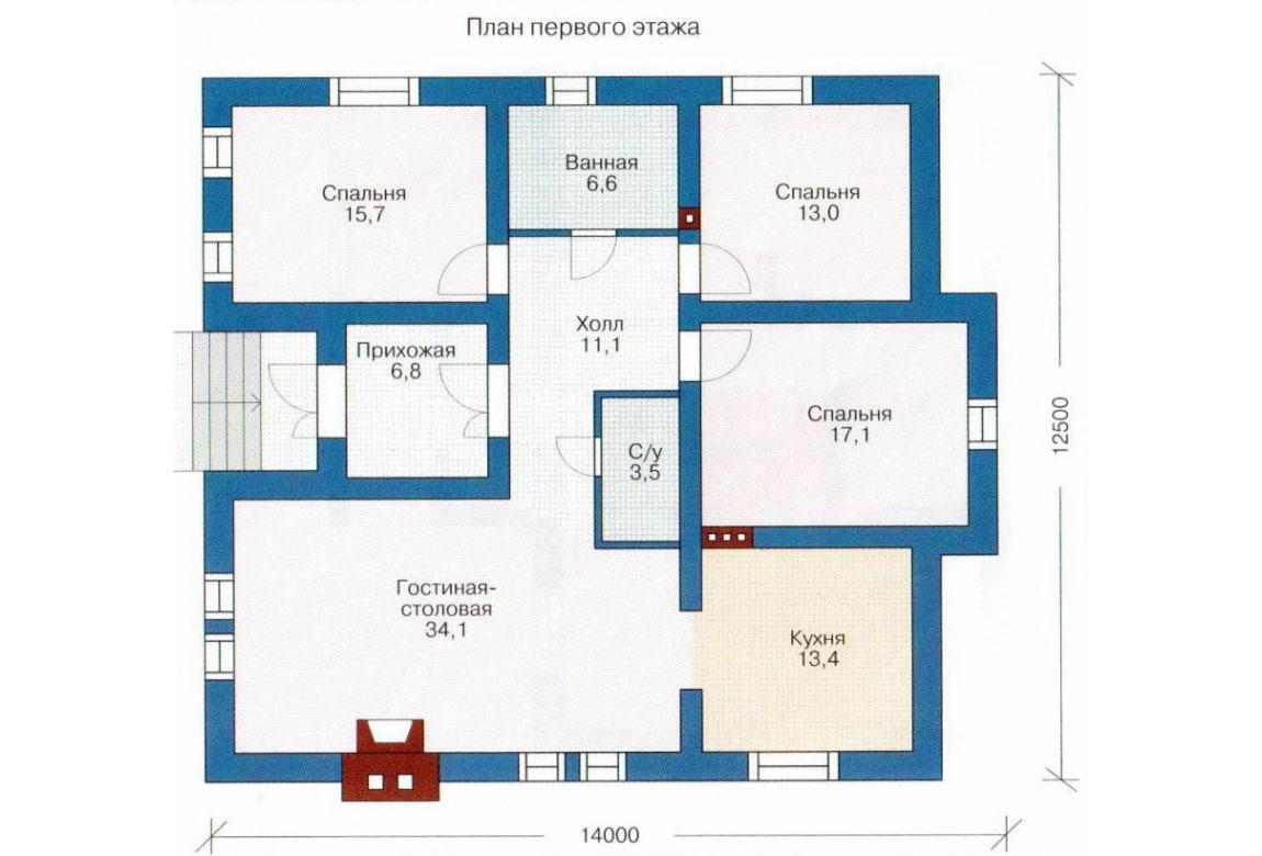 План N1 проекта кирпичного дома АСД-1002