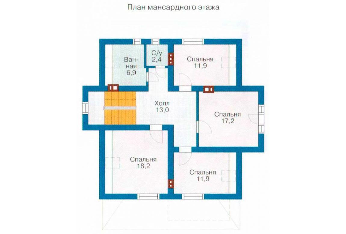 План N1 проекта кирпичного дома АСД-1020