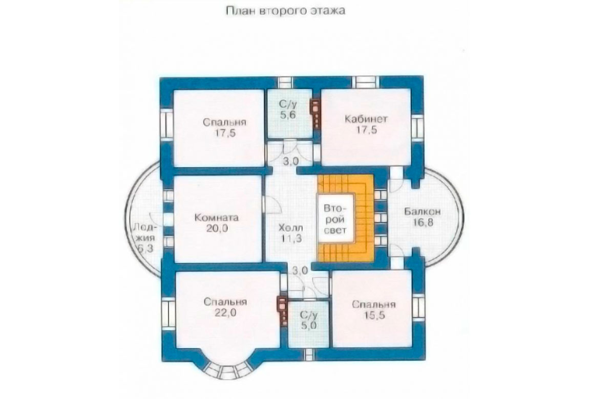 План N2 проекта дома из блоков АСД-1202