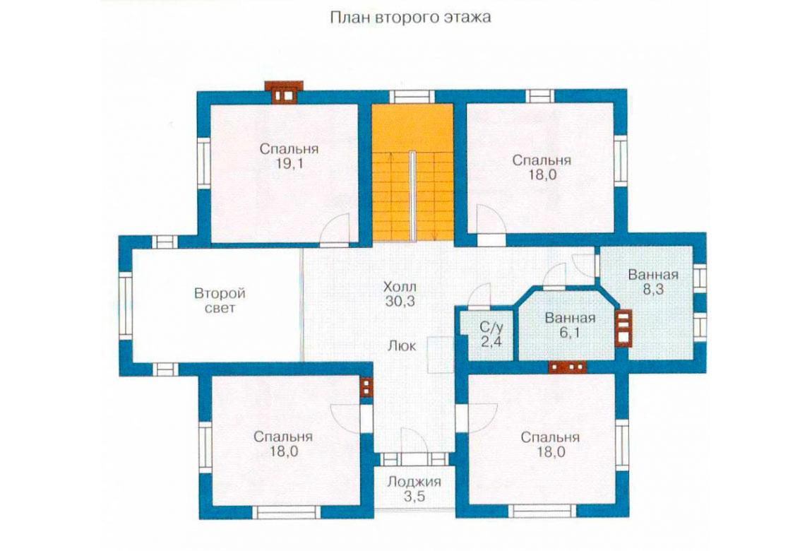 План N1 проекта дома из блоков АСД-1203