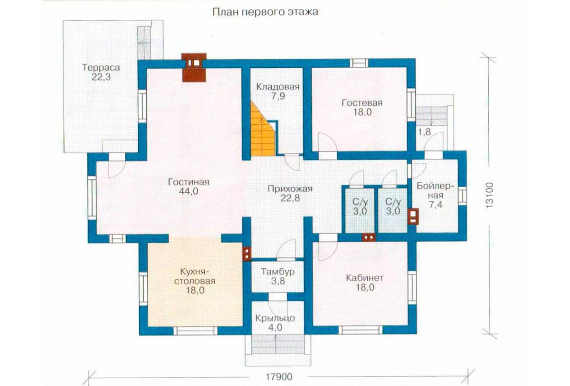План N2 проекта дома из блоков АСД-1203