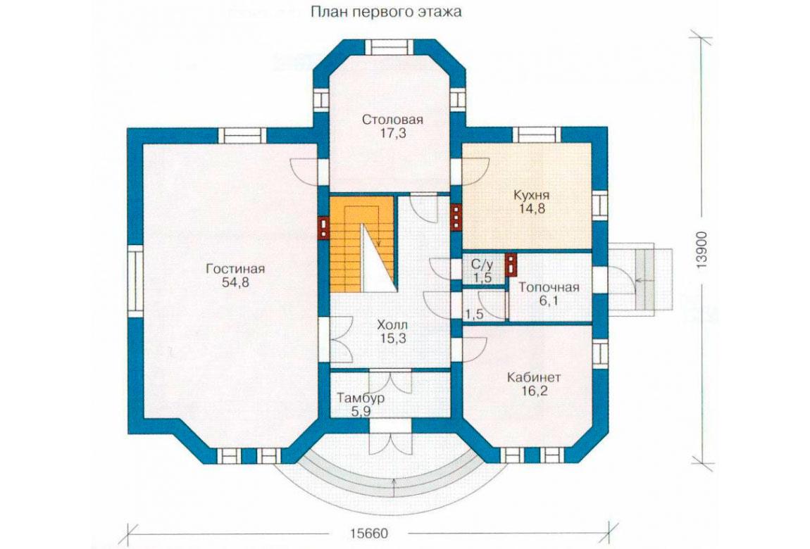 План N1 проекта дома из блоков АСД-1204