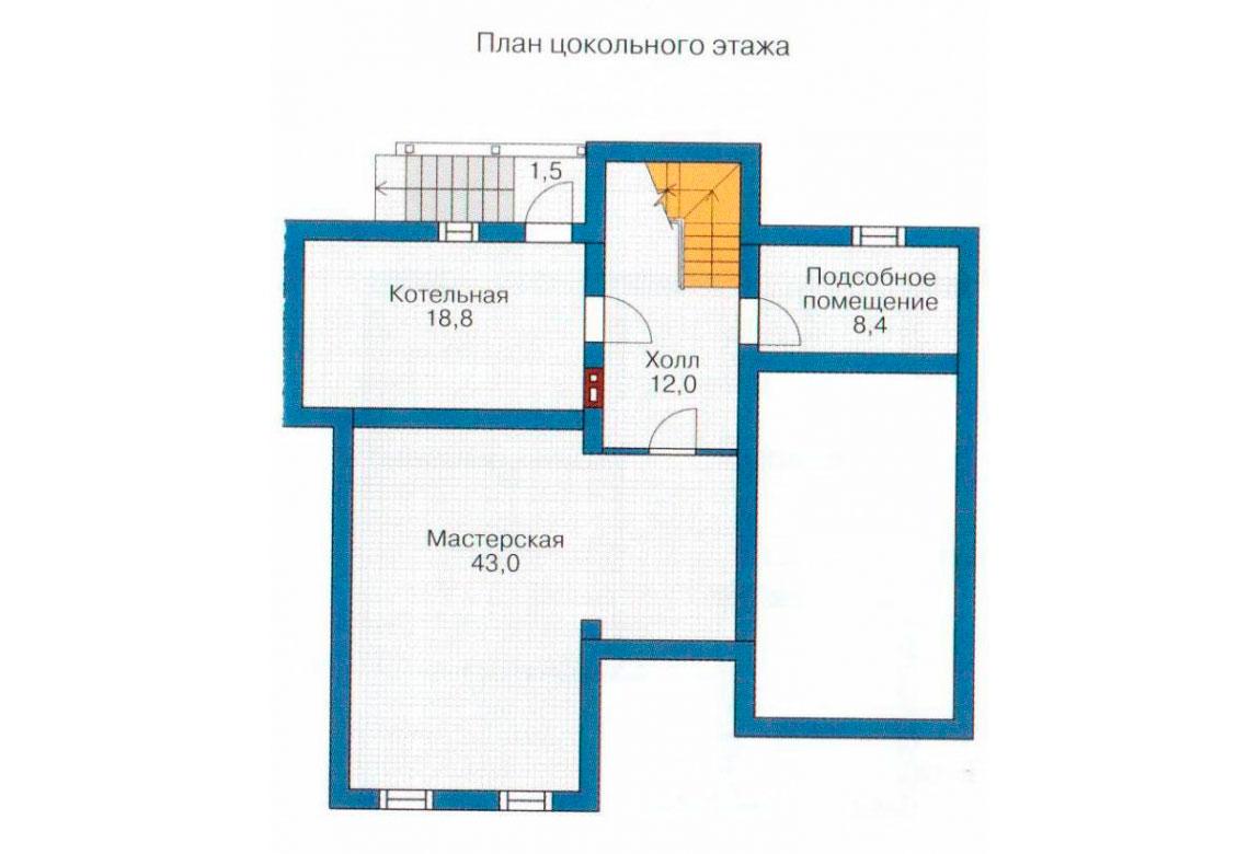План N1 проекта дома из блоков АСД-1205