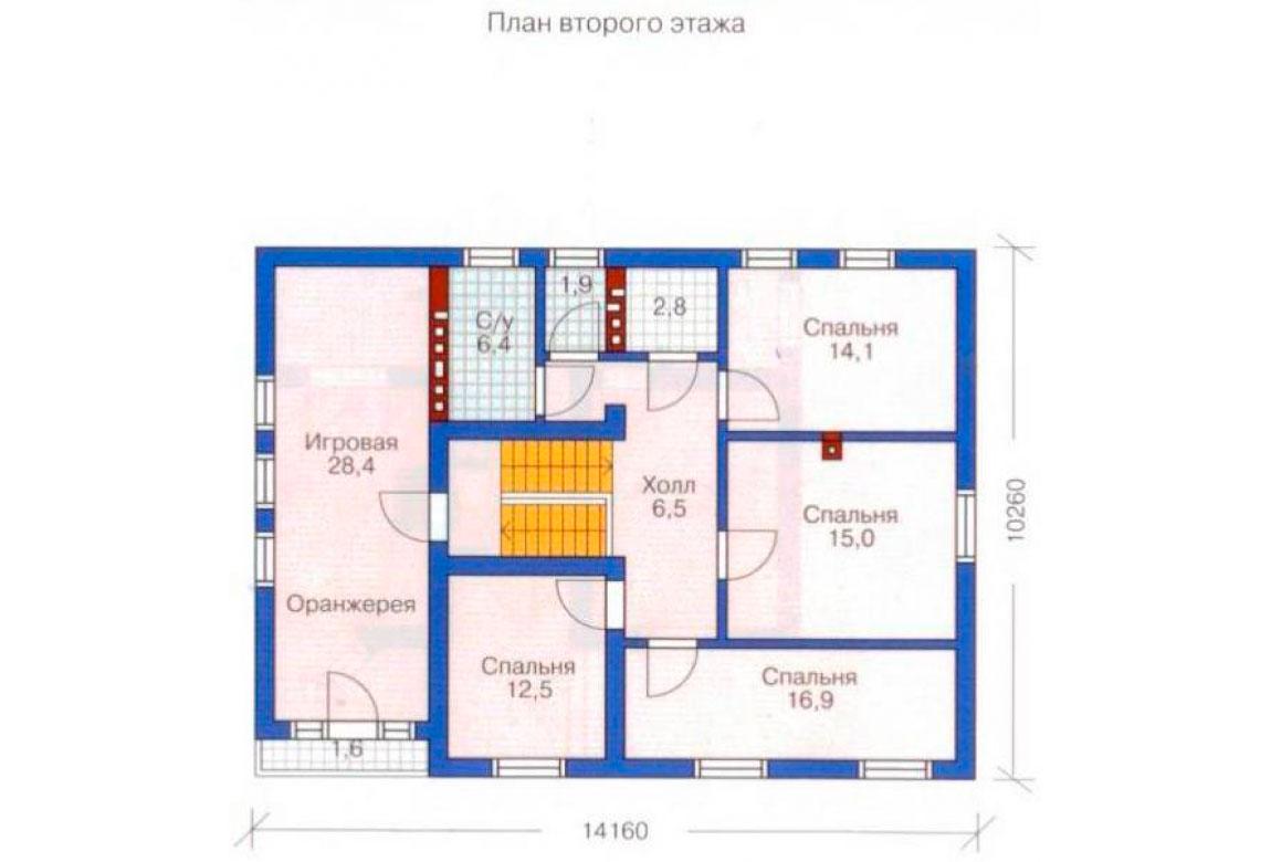 План N1 проекта дома из блоков АСД-1207