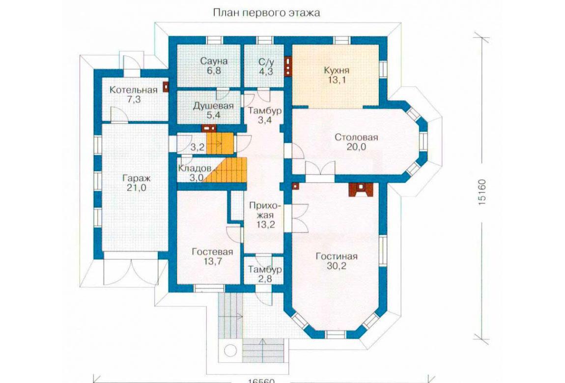 План N1 проекта дома из блоков АСД-1208