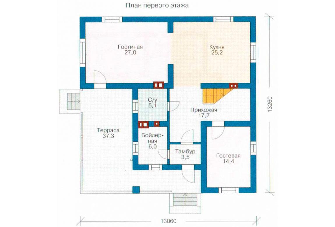 План N1 проекта кирпичного дома АСД-1021