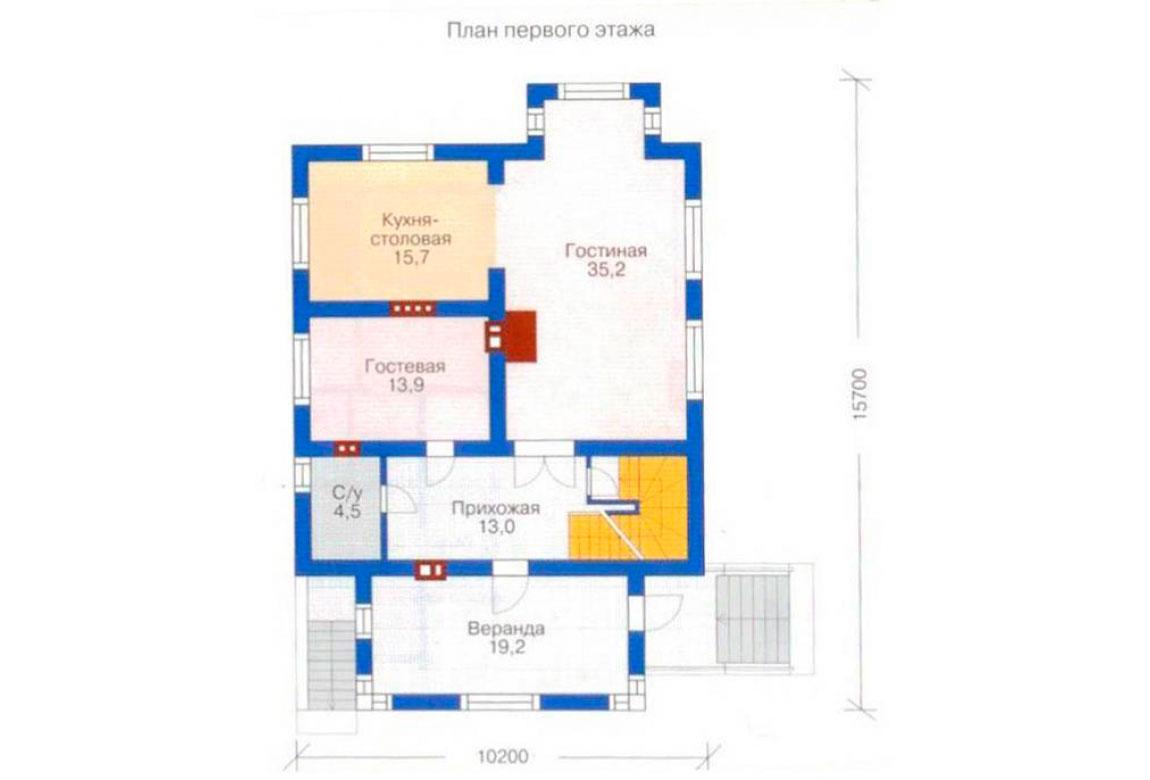 План N2 проекта дома из блоков АСД-1213