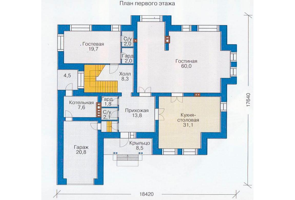 План N1 проекта дома из блоков АСД-1215