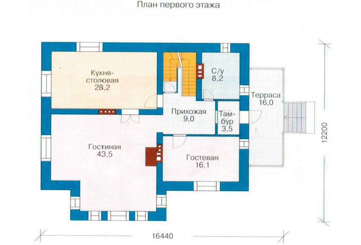 План N2 проекта дома из блоков АСД-1218