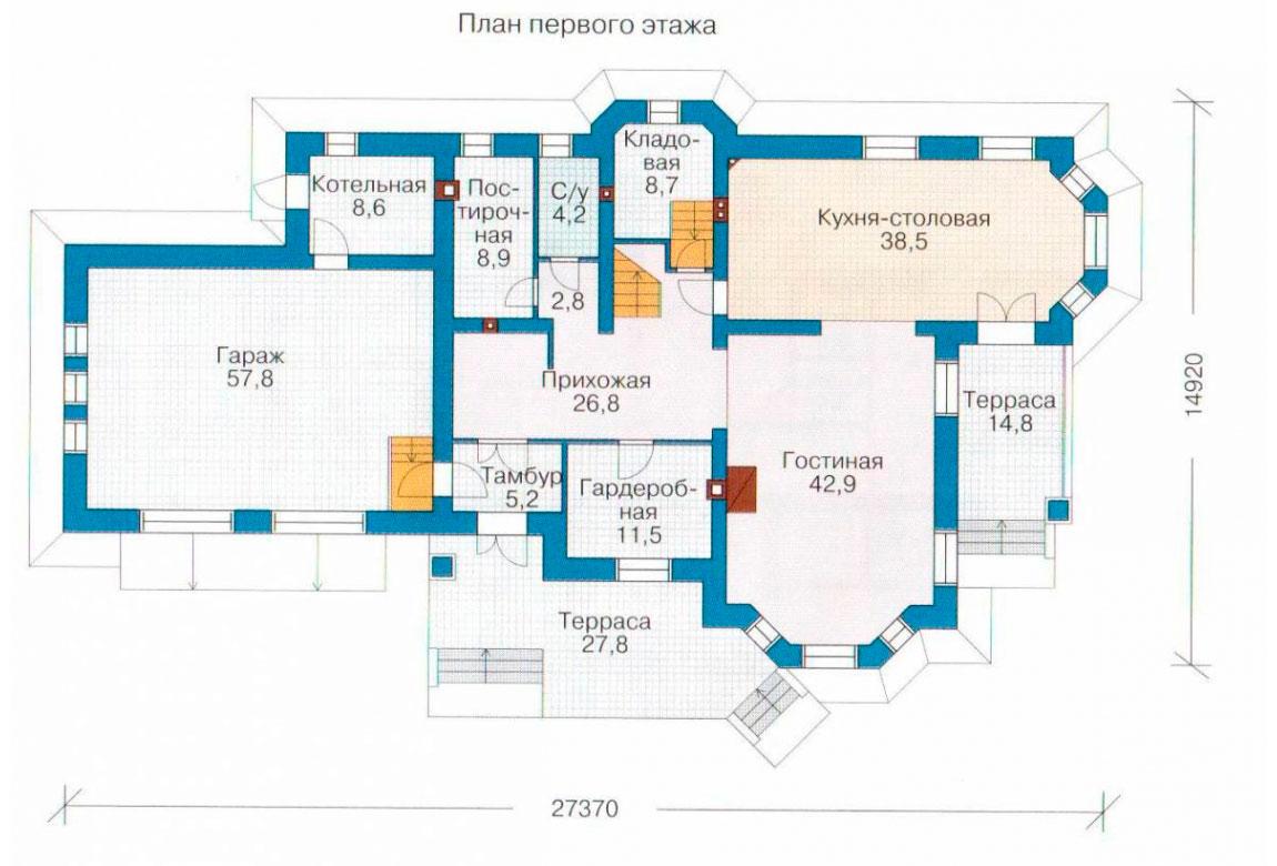 План N2 проекта дома из блоков АСД-1219