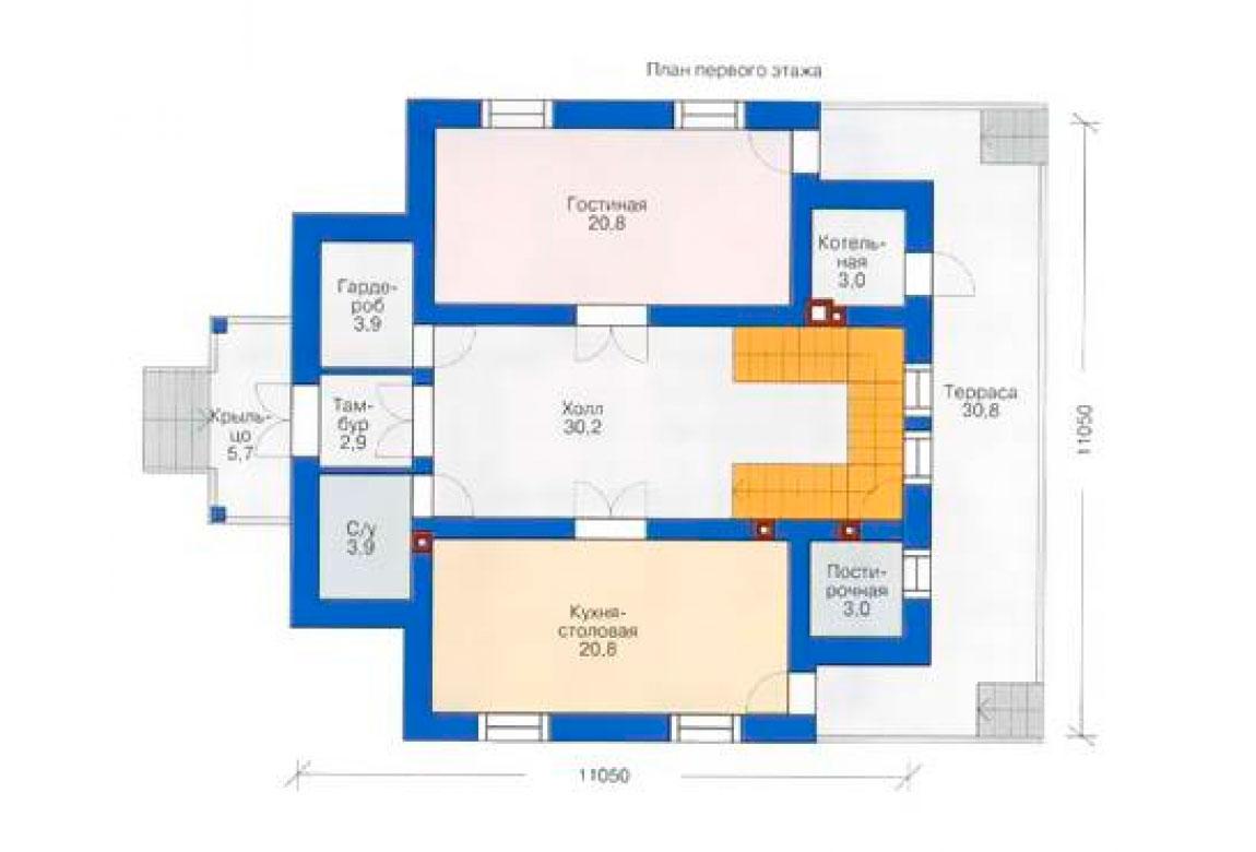 План N1 проекта кирпичного дома АСД-1022